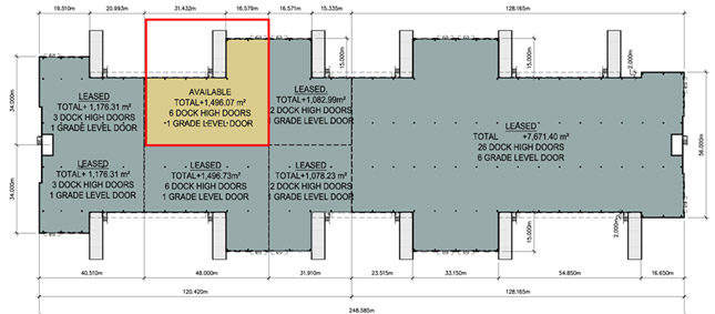 9122 - 1,496.07m2 Available&#59; 6 Dock High Doors&#59; -1 Grade Level Door