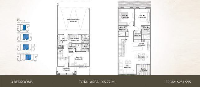 Townhome Residence 1 - 3 Bedrooms - Total Area: 205.77 m2